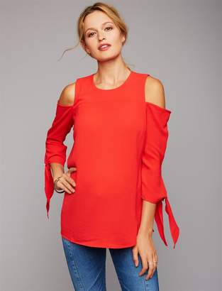 A Pea in the Pod Cold Shoulder Tie Sleeve Maternity Blouse