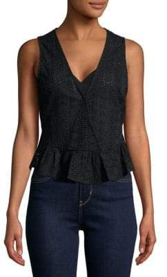 BCBGeneration Cotton Eyelet Surplice Tank Top
