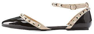 Studded Pointed Toe Ankle Strap Flats $11.49 thestylecure.com