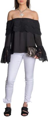 Allison Collection DBA Vishal Enterprises Lace Off Shoulder Bell Slv Top