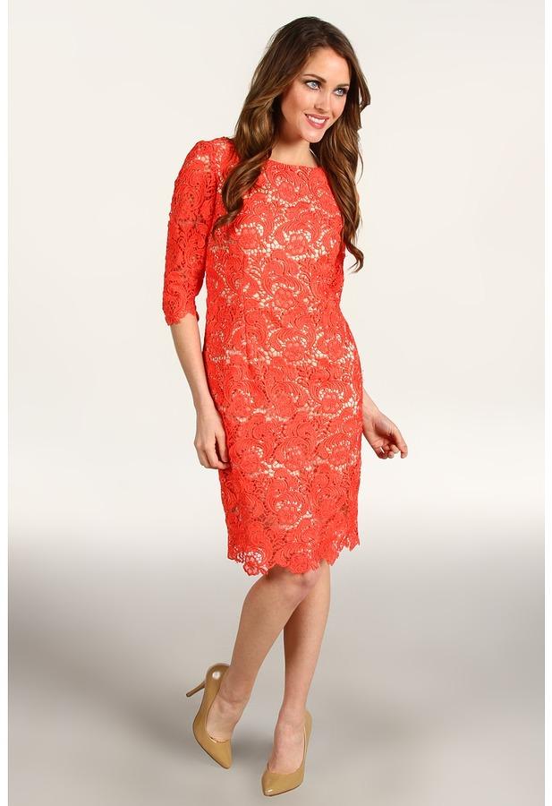 Eliza J Three Quarter Sleeve Lace Sheath Dress (Coral) - Apparel