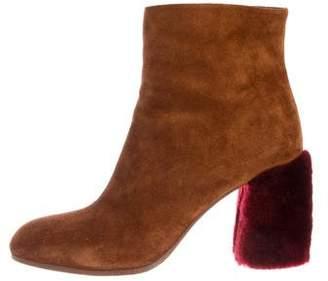 Miu Miu Suede Fur Heel Ankle Booties