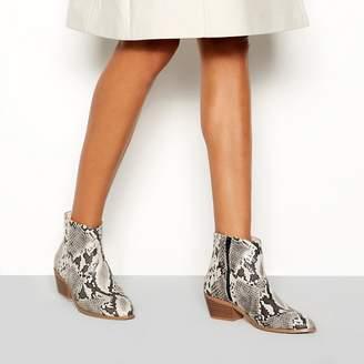 361e54e69543 at Debenhams · Faith Multi-Coloured Snakeskin-Effect  Bull  Block Heel  Ankle Boots