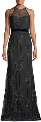 Badgley Mischka Floral Embellished Tulle Racerback Gown