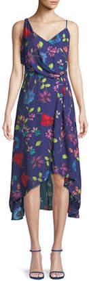 Parker Pippy Draped Floral Silk Midi Dress