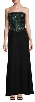 Tadashi Shoji Sequined Strapless Gown