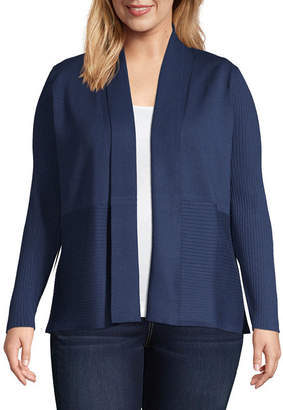 Liz Claiborne Ribbed Open Front Cardigan-Plus