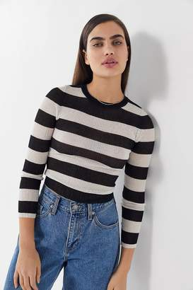 Urban Outfitters Mabel Striped Long Sleeve Cropped Sweater
