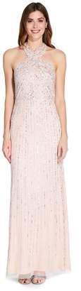 Adrianna Papell Womens Nude Halter Beaded Gown - Cream