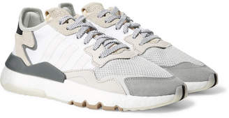 adidas Nite Jogger Suede and Rubber-Trimmed Mesh and Ripstop Sneakers - Men - White
