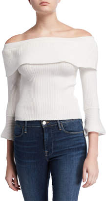 Moon River Off-the-Shoulder Fold-Over Sweater