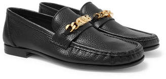 Versace Antares Chain-Trimmed Textured-Leather Loafers - Men - Black