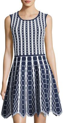 Pink Tartan Hexagon-Knit Scallop-Hem Fit & Flare Dress, Blue/White $299 thestylecure.com