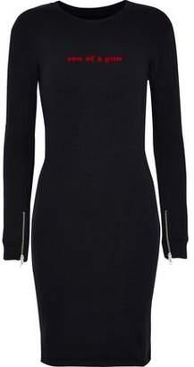 Zoe Karssen Flocked Cotton-Blend Terry Mini Dress