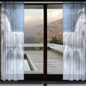 INGBAGS White Unicorn Sheer Curtain Panels Bedroom Decor Living Room Decorations Tulle Polyester Door Window Gauze Curtain Drape 2 Panels Set