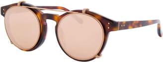 Linda Farrow Round Acetate Sunglasses w/ Clip-On Lenses, Rose Gold/Tortoise