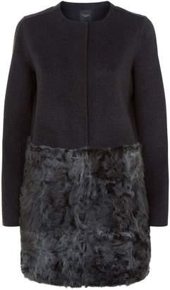 Max Mara Collarless Wool and Fur Coat