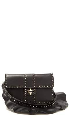 Valentino Rockstud Ruffle Strap Cross Body Leather Bag - Womens - Black