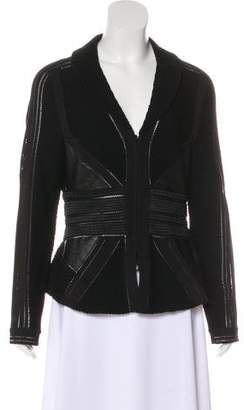 Herve Leger Leather-Trimmed Wool Jacket