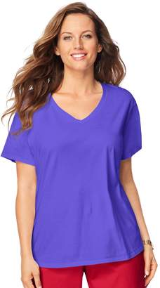 Just My Size Plus Size Solid V-Neck Tee
