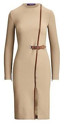 Ralph Lauren Women's Evelina Leather Trim Stretch-Wool Dress - Size 0