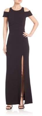 ABS by Allen Schwartz Cutout Crepe Cold-Shoulder Gown