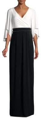 Adrianna Papell Quarter-Sleeve Jersey Long Dress