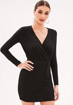 Missguided Black Long Sleeve Ribbed Dress