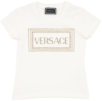 Versace Embellished Cotton Jersey T-shirt