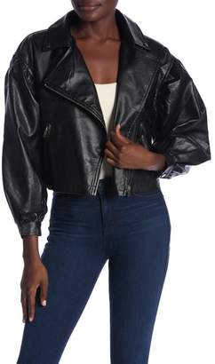 Flying Tomato Front Zip Faux Leather Jacket