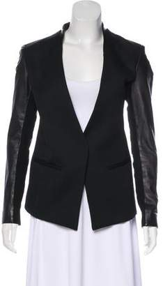 Helmut Lang Leather-Accented Wool Blazer