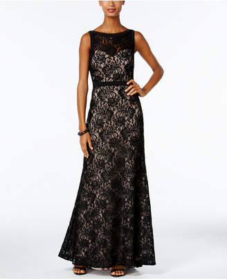 Night Way Nightway Illusion Sequined Lace Train Gown