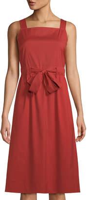 Lafayette 148 New York Lorelei Square-Neck Tie-Waist Midi Dress