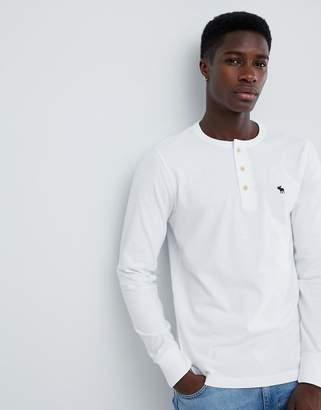 Abercrombie & Fitch icon logo long sleeve henley top in white