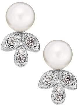 Nadri Crystal Leaf Drop Pearl Earrings
