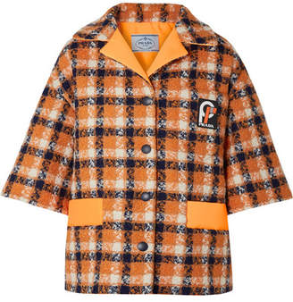 Prada Shell-trimmed Wool-tweed Jacket - Orange