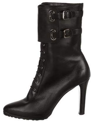 Ralph Lauren Leather Lace-Up Mid-Calf Boots