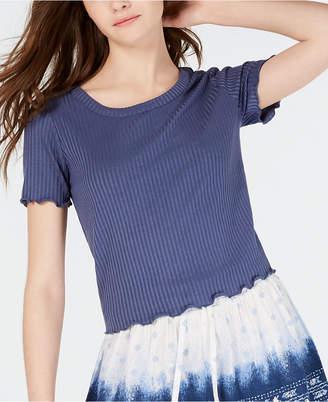 American Rag Juniors' Crochet-Trimmed Rib-Knit Top