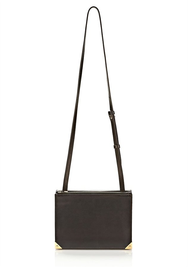 Alexander Wang Prisma Double Envelope In Shiny Black With Pale Gold
