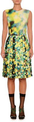 Sleeveless Jewel-Neck A-Line Abstract-Print Dress