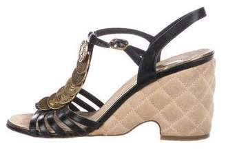 Chanel Leather Coin Wedges