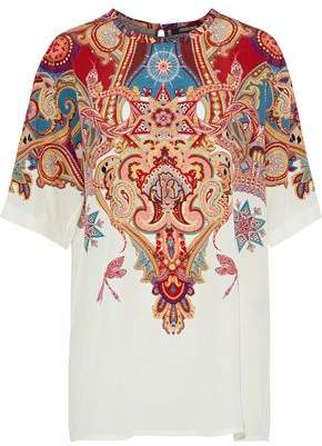 Roberto Cavalli Printed Silk Crepe De Chine Top