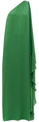 Dundas One Shoulder Silk Georgette Maxi Dress - Womens - Green