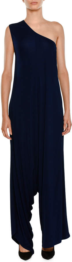 Stella Mccartney One-Shoulder Drop Wide-Leg Jersey Jumpsuit