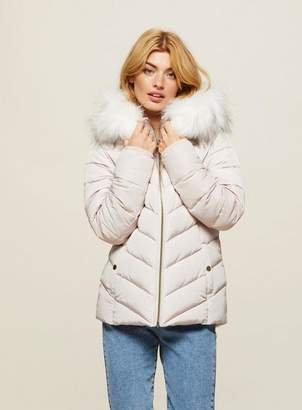 Miss Selfridge Cream fur hooded quilted puffer coat