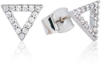 Astrid & Miyu - Tuxedo Triangle Earrings Silver
