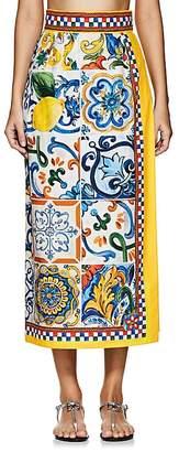 Dolce & Gabbana Women's Maioliche-Tile-Print Cotton Poplin Skirt