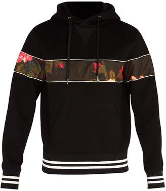 Alexander McQueen Floral-panel hooded neoprene sweatshirt