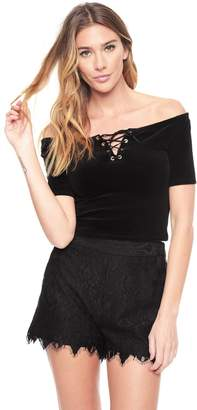 Juicy Couture Stretch Velour Off Shoulder Top
