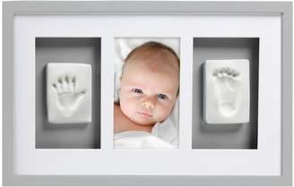 Pearhead Pear Head Babyprints Newborn Baby Handprint and Footprint Deluxe Wall Photo Frame & Impression Kit, Gray